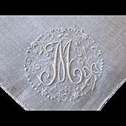 White Linen Hanky Hankie Vintage 1940s M Monogram