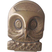 Antique German Owl Clip Brass Figural Office Desk