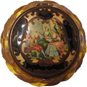 Bakelite Compact Vintage 1950s Deeply Carved Applejuice Vanity Renaissance Scene