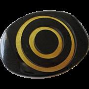 Mid Century Modern Bakelite Button Vintage 1950s Black Applejuice Large Swirl
