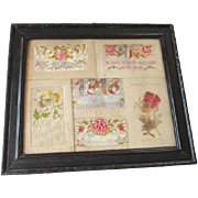 Antique WWI Silk Embroidered Hankies Framed 1918 France Wartime Sweetheart Momento