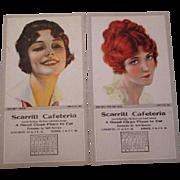 Women Advertising Blotters Vintage 1920s Scarritt Cafeteria Kansas City