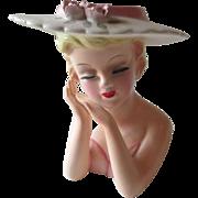 Napco Head Vase Vintage 1950s Kitsch Roses Sun Hat Summer