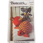Stuffed Animal Sewing Pattern Vintage 1960s Elephant Mouse Turtle Butterick 3419 Uncut