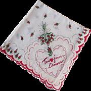 French Valentine Hanky Hankie Vintage 1950s Cotton Tou Jour L'Amour