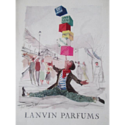 Lanvin Parfum Perfume Advertisement Vintage 1950s Original French Art Paper Ephemera