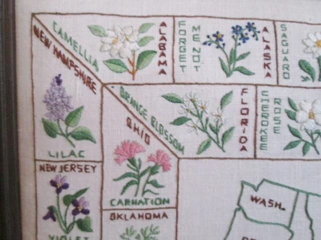 Large crewel work embroidery sampler vintage s map of
