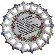 Recipe For Friendship Plate Vintage 1930s Porcelain Motto Poem Flowers