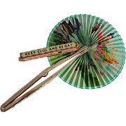 Asian Folding Fan Vintage 1960s Happy Gay Original Box Hong Kong