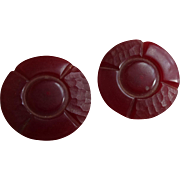 Bakelite Buttons Vintage 1940s Cherry Red Round Pair Set