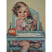 Girl With Cat Calendar Print Vintage 1930s Paper Spilt Milk Charlotte Becker Highchair Picture