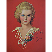 Beautiful Blonde Calendar Print Vintage 1930s Just Seventeen J. Erbit Red Lace Rose