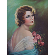 Woman Calendar Print Vintage 1930s Romance and Roses Lady Adelaide Hiebel Picture