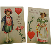 Fantasy Flower Children Pair Antique German Embossed Valentine Postcards