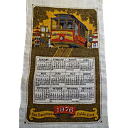 San Francisco Cable Car Linen Calendar Vintage 1970s Wall Hanging 1976 Kay Dee