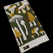 Kay Dee Linen Mushrooms Kitchen Towel Vintage 1970s Dead Stock NWT