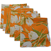 Orange Floral Tulip Napkins Vintage 1970s Cotton Print Flowers Spring Table Setting