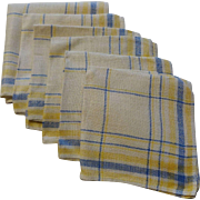 Plaid Linen Luncheon Tea Napkins Vintage 1930s Blue Yellow White Set of 6