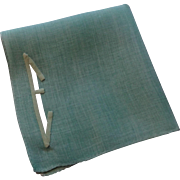 Art Deco Hankie Hanky Handkerchief Vintage 1930s E Monogram Applique Teal Green