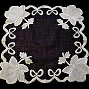 Vintage 1930s Black White Appliqued Hankie Hanky Handkerchief