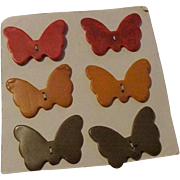 Set 6 Vintage 1940s Bakelite Butterfly Buttons On Original Card