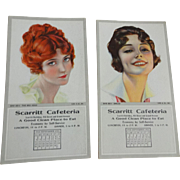 Vintage 1920s Flapper Girls Advertising Blotter Calendar Paper Ephemera Unused Scarritt Cafeteria Kansas City