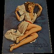 Elvgren Pinup Calendar Vintage 1940s Paper Advertising Ephemera He Thinks Im Too Good To Be True