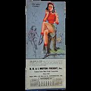 Munson Pinup Blotter Calendar Vintage 1940s Paper Advertising Ephemera Motor Freight