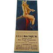 Lady Godiva Munson Pinup Calendar Vintage 1940s Paper Ephemera Advertising Promotional Bareback Blonde Cowgirl