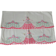 Southern Belle Pillowcases Vintage 1930s Crocheted Pink Lace White Cotton Pair
