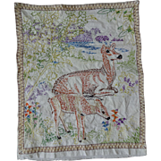 Woodland Deer Embroidery Pillowcase Pillow Cover Vintage 1930s Hand Stitched Cotton