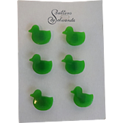 Bakelite Duck Buttons Vintage 1930s Schwanda Original Card Figural Novelty Set of 6