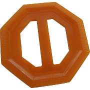 Carved Bakelite Slide Buckle Vintage 1940s Art Deco Butterscotch