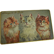 Droste Cocoa Cats Tin Vintage 1930s Holland Chocolate Langues de Chats