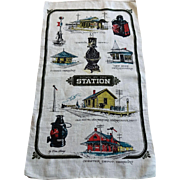 Railroad Train Station Linen Towel Vintage 1970s Signed Don Henry Lantern Depot East Coast