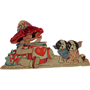 Antique German Valentine Card Honeycomb Girl With Puppy Dogs