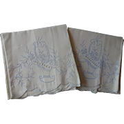 Vintage 1930s Pillowcases Appenzell Style Embroidered Flower Baskets Blue Work