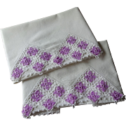 Crocheted Lace Pillowcases Vintage 1930s Lavender Daisies White Cotton Pair