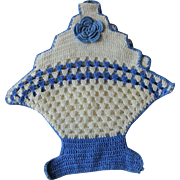 Crocheted Lace Potholder Vintage 1930s Flower Basket Blue White