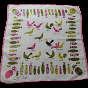 Tammis Keefe Handkerchief Vintage 1950s Feathers Pigeons Birds Hanky Hankie
