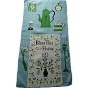 Linen Kitchen Towel Vintage 1960s Bless This House Peg Thomas Tammis Keefe Egghead