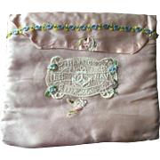 Navy WWII Mother Hankie Holder Vintage 1940s Pink Satin Filet Lace Military Anchor Souvenir
