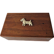 Wood Scottie Dog Box Vintage Scotty Hinged Jewelry Trinket Dresser Box - Red Tag Sale Item