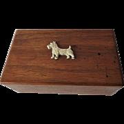Wood Scottie Dog Box Vintage Scotty Hinged Jewelry Trinket Dresser Box
