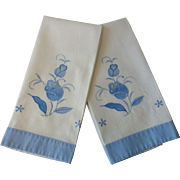 Floral Guest Towels Applique Vintage 1930s Blue White Cotton Pair
