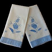 Floral Guest Towels Applique Vintage 1930s Blue White Cotton Pair