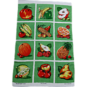 Vintage Kitchen Linen Towel Fruits Vegetables 1970s Ireland Irish Cabin Linens