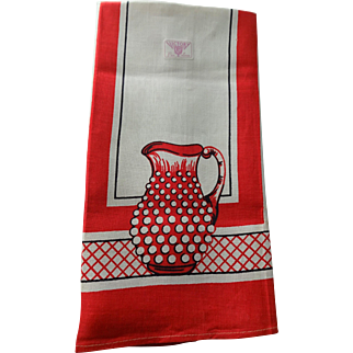 Linen Kitchen Towel Vintage 1950s Victory Deadstock NWT Cranberry Hobnail Pitcher