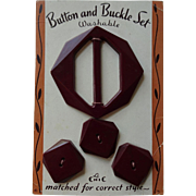 Red Bakelite Buckle Button Set Vintage 1940s Original Advertising Card