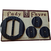 Art Deco Carved Bakelite Buckle Button Set Vintage 1940s Black Lady Fayre Dead Stock